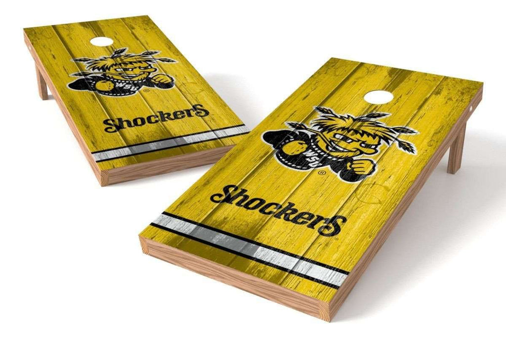 Image: Wichita State Shockers Cornhole Board Set - Vintage (w/Bluetooth Speakers) | Proline Tailgating