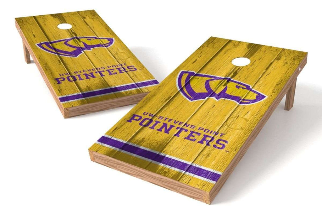 Image: Wisconsin Steven Point Pointers Cornhole Board Set - Vintage (w/Bluetooth Speakers) | Proline Tailgating