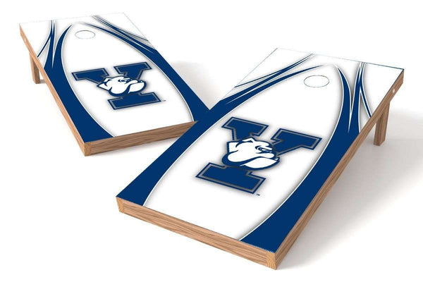Image: Yale Bulldogs Cornhole Board Set - The Edge (w/Bluetooth Speakers) | Proline Tailgating