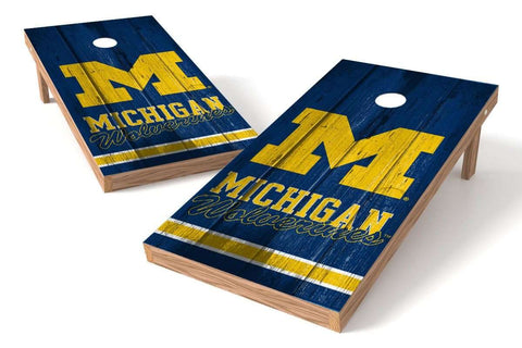Image: Michigan Wolverines 2x4 Cornhole Board Set - Vintage | Proline Tailgating