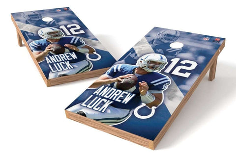 Image: Andrew Luck NFL 2x4 Cornhole Board Set (Indianapolis Colts) (w/Bluetooth Speakers) | Proline Tailgating