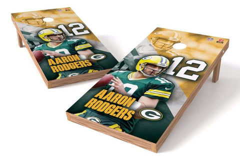 Image: Aaron Rodgers NFL 2x4 Cornhole Board Set (Green Bay Packers) (w/Bluetooth Speakers) | Proline Tailgating