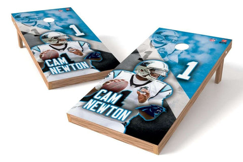 Image: Cam Newton NFL 2x4 Cornhole Board Set (Carolina Panthers) | Proline Tailgating