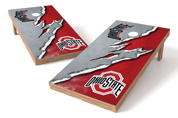 Image: Ohio State Buckeyes Cornhole Board Set - Ripped (w/Bluetooth Speakers) | Proline Tailgating
