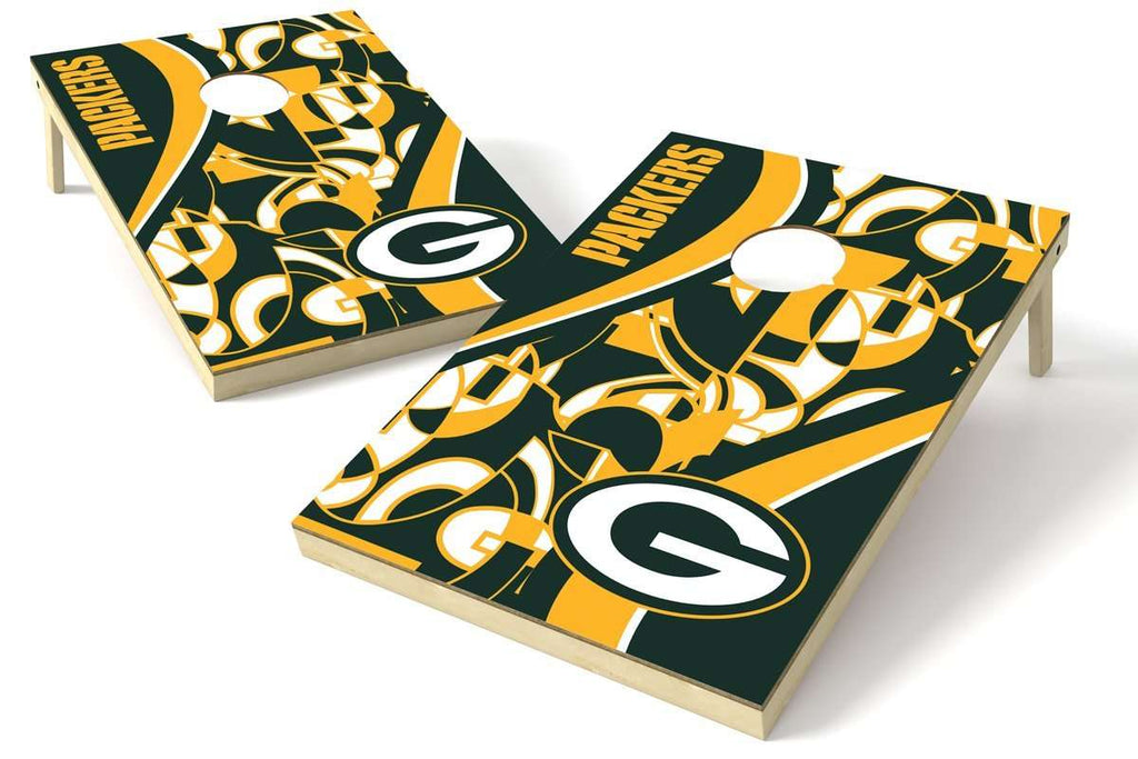 Image: Green Bay Packers 2x3 Cornhole Board Set - Millennial S Bend | Proline Tailgating