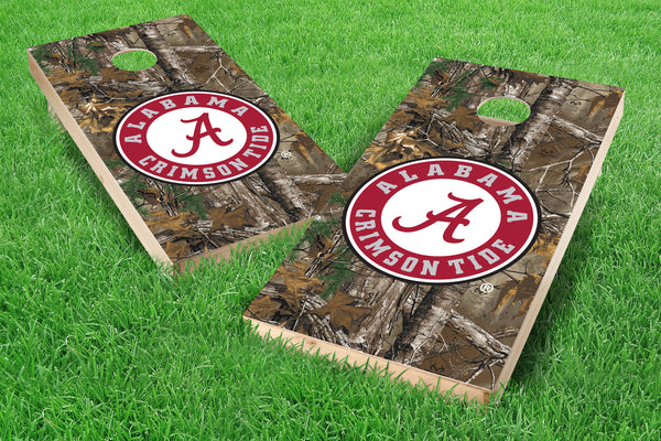 Image: Alabama Crimson Tide 2x4 Cornhole Board Set - Realtree Xtra<sup>®</sup> Camo | Proline Tailgating