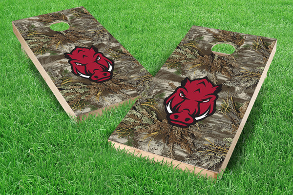 Image: Arkansas Razorbacks Single Cornhole Board - Realtree Max-1<sup>®</sup> Camo | Proline Tailgating