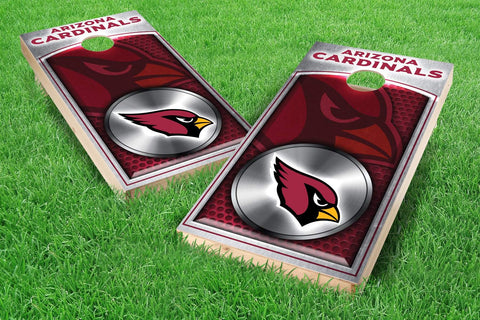 Image: Arizona Cardinals 2x4 Cornhole Board Set - Medallion (w/Bluetooth Speakers) | Proline Tailgating