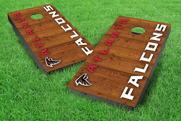 Image: Atlanta Falcons 2x4 Cornhole Board Set - Vertical (w/Bluetooth Speakers) | Proline Tailgating