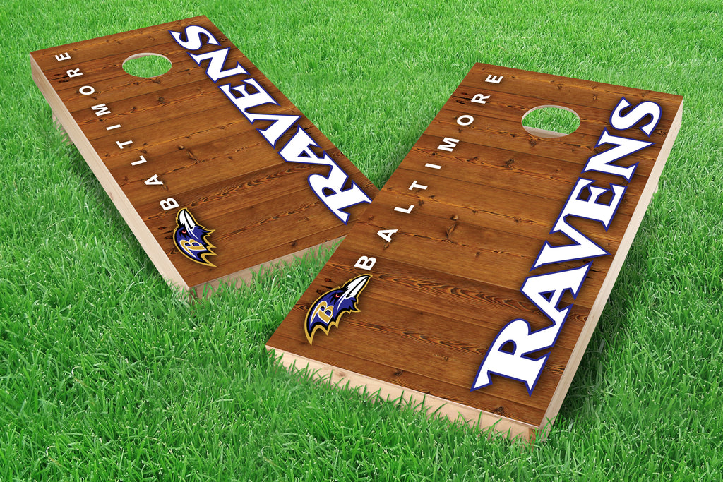 Image: Baltimore Ravens 2x4 Cornhole Board Set - Vertical (w/Bluetooth Speakers) | Proline Tailgating