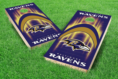 Image: Baltimore Ravens 2x4 Cornhole Board Set - Arch (w/Bluetooth Speakers) | Proline Tailgating