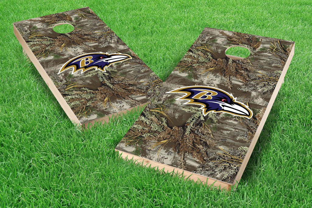 Image: Baltimore Ravens Single Cornhole Board - Realtree Max-1<sup>®</sup> Camo | Proline Tailgating