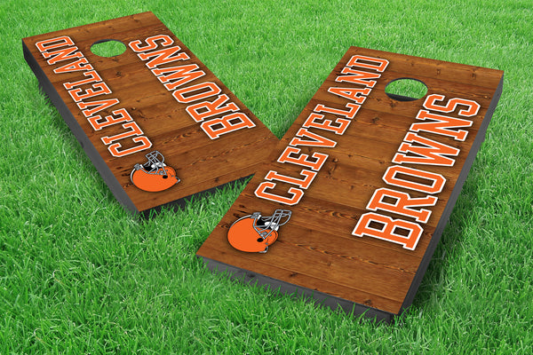 Image: Cleveland Browns 2x4 Cornhole Board Set - Vertical (w/Bluetooth Speakers) | Proline Tailgating