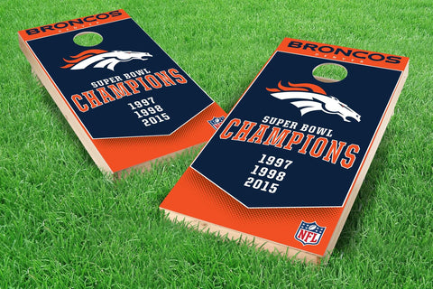 Image: Denver Broncos 2x4 Cornhole Board Set - Champions (w/Bluetooth Speakers) | Proline Tailgating