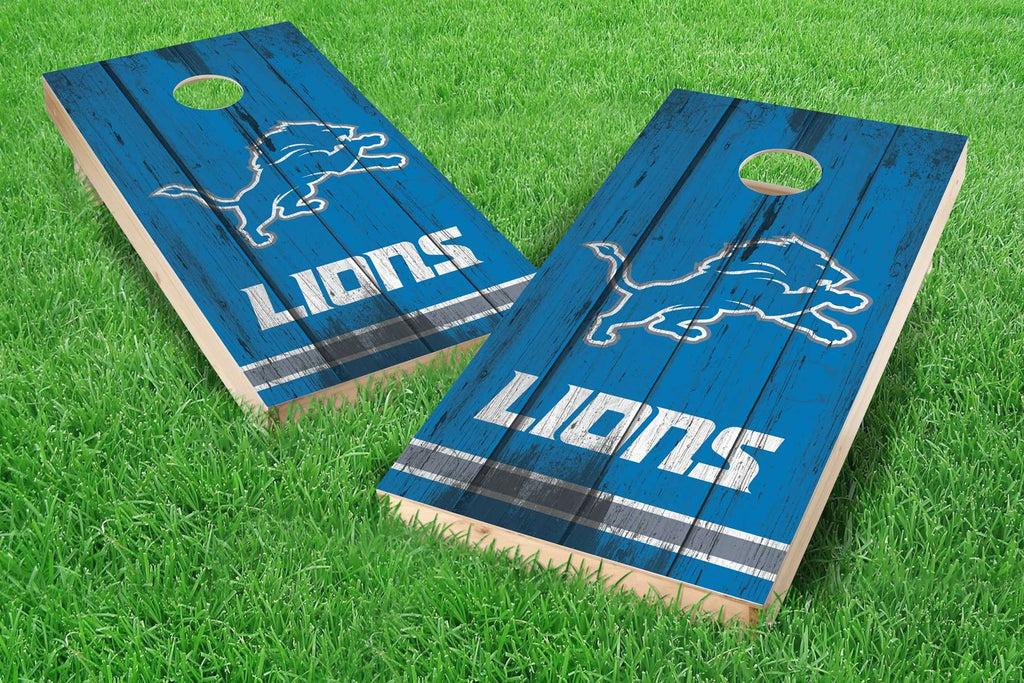 Image: Detroit Lions Cornhole Board Set - Vintage (w/Bluetooth Speakers) | Proline Tailgating