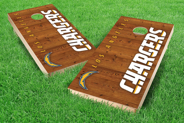 Image: Los Angeles Chargers 2x4 Cornhole Board Set - Vertical | Proline Tailgating