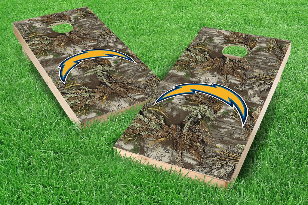 Image: Los Angeles Chargers 2x4 Cornhole Board Set - Realtree Max-1<sup>®</sup> Camo | Proline Tailgating