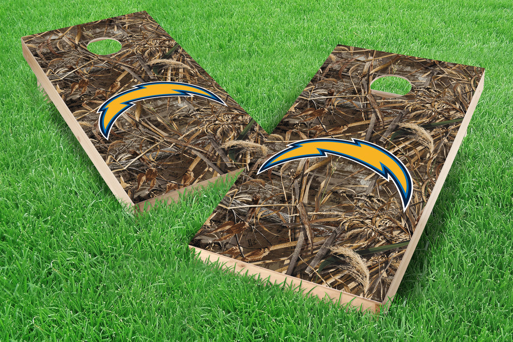 Image: Los Angeles Chargers Cornhole Board Set - Realtree Max-5<sup>®</sup> Camo | Proline Tailgating
