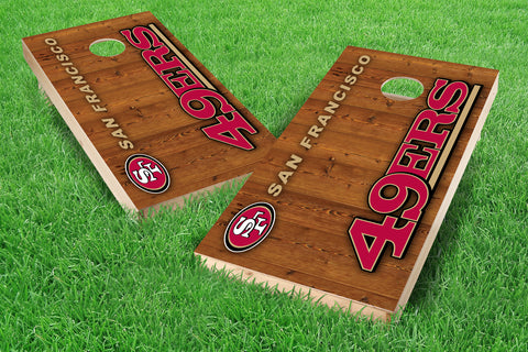 Image: San Francisco 49ers 2x4 Cornhole Board Set - Vertical (w/Bluetooth Speakers) | Proline Tailgating