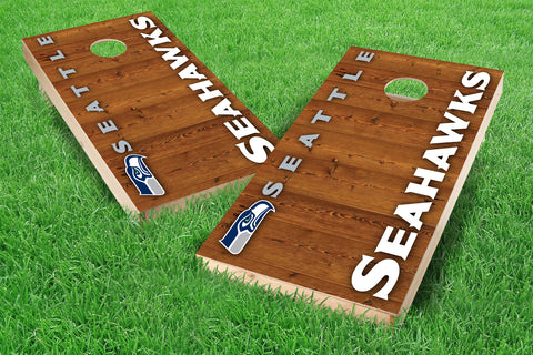 Image: Seattle Seahawks 2x4 Cornhole Board Set - Vertical (w/Bluetooth Speakers) | Proline Tailgating