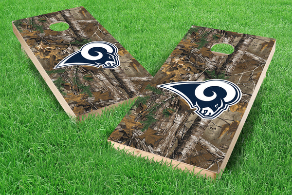 Image: Los Angeles Rams Cornhole Board Set - Realtree Xtra<sup>®</sup> Camo (w/Bluetooth Speakers) | Proline Tailgating