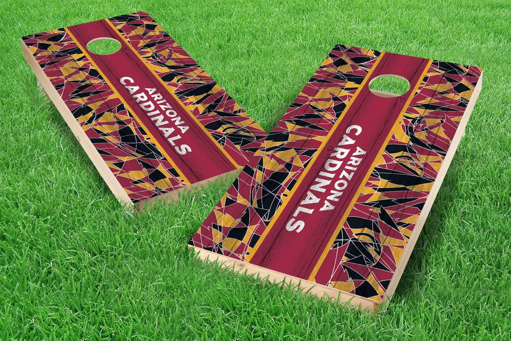 Image: Arizona Cardinals Cornhole Board Set - Millennial Stripe (w/Bluetooth Speakers) | Proline Tailgating