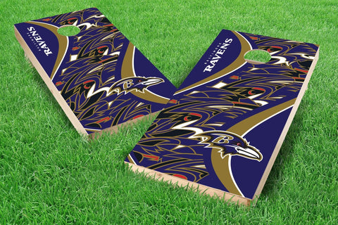 Image: Baltimore Ravens Cornhole Board Set - Millennial S Bend (w/Bluetooth Speakers) | Proline Tailgating