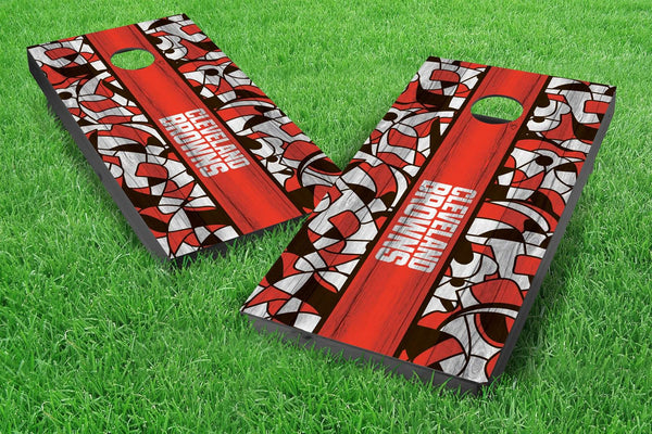 Image: Cleveland Browns 2x4 Cornhole Board Set - Millennial Stripe (w/Bluetooth Speakers) | Proline Tailgating
