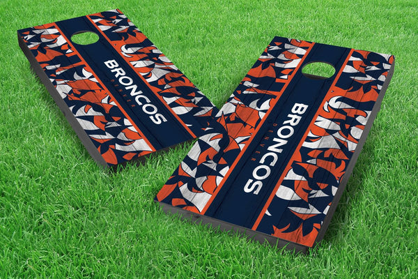 Image: Denver Broncos 2x4 Cornhole Board Set - Millennial Stripe (w/Bluetooth Speakers) | Proline Tailgating