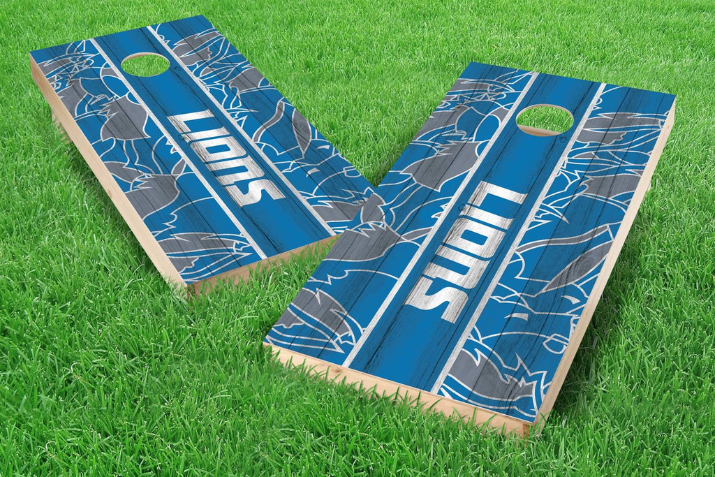 Image: Detroit Lions 2x4 Cornhole Board Set - Millennial Stripe (w/Bluetooth Speakers) | Proline Tailgating