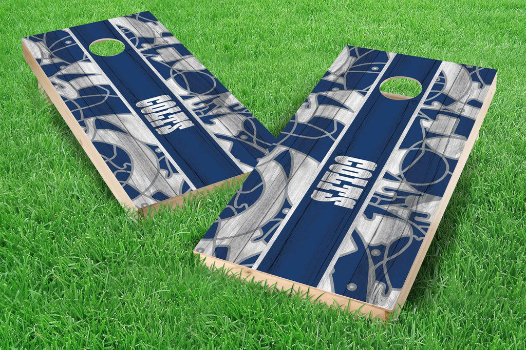 Image: Indianapolis Colts 2x4 Cornhole Board Set - Millennial Stripe | Proline Tailgating