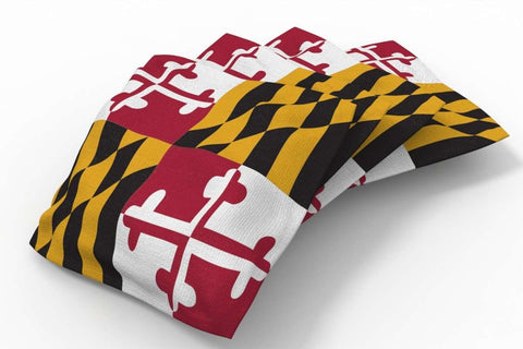 Image: Maryland Flag Design Patriotic Bean Bags-4pk (A) | Proline Tailgating