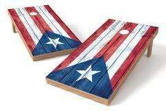Image: Puerto Rico Flag Single Cornhole Board-Vintage | Proline Tailgating