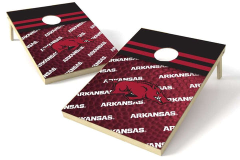 Image: Arkansas Razorbacks 2x3 Cornhole Board Set - Pigskin | Proline Tailgating