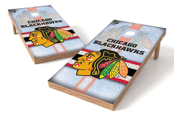 Image: Chicago Blackhawks Cornhole Board Set - Wild (w/Bluetooth Speakers) | Proline Tailgating