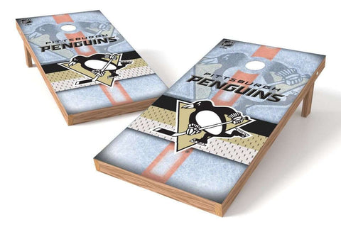Image: Pittsburgh Penguins Cornhole Board Set - Wild (w/Bluetooth Speakers) | Proline Tailgating