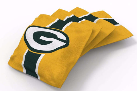 Image: Green Bay Packers Stripe Bean Bags-4pk (B) | Proline Tailgating
