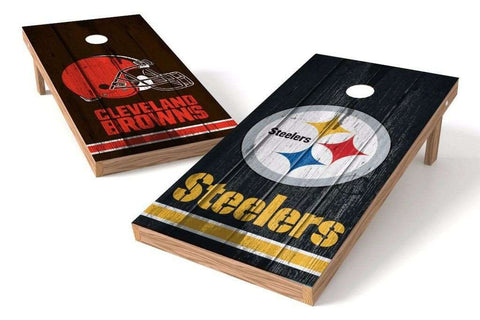 Image: Cleveland Browns/ Pittsburgh Steelers Rivals 2x4 Cornhole Board Set | Proline Tailgating