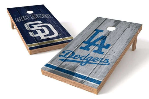 Image: Los Angeles Dodgers/ San Diego Padres Rivals 2x4 Cornhole Board Set | Proline Tailgating