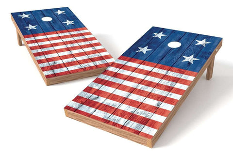 Image: USA Flag 2x4 Cornhole Board Set-Horizontal (w/Bluetooth Speakers) | Proline Tailgating