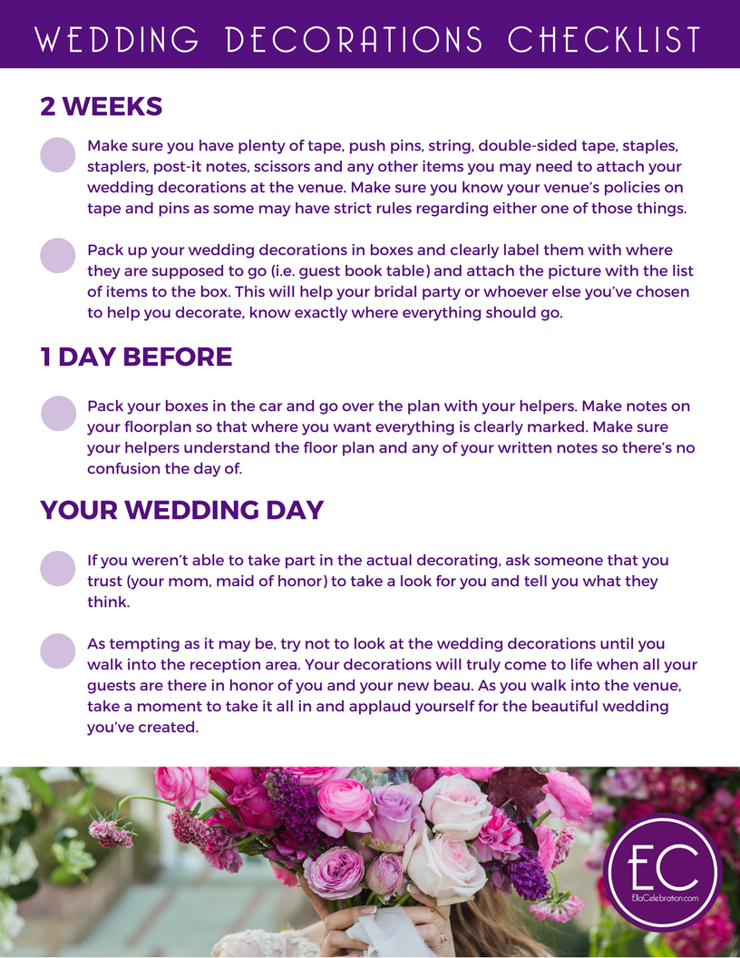 Wedding decorations on a budget a free printable checklist for free printables for brides a wedding decorations checklist junglespirit Images