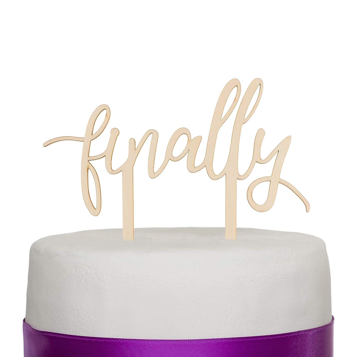 Finally Wooden Cake Topper - Cursive
