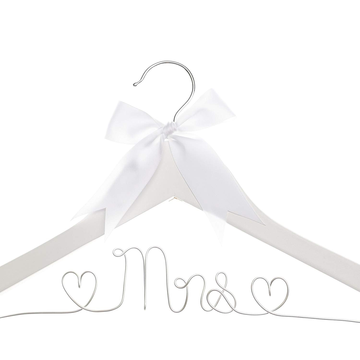 Mrs Wedding Dress Hanger (White, Silver Wire)