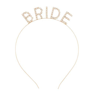 Bride Headband - Gold Rhinestone