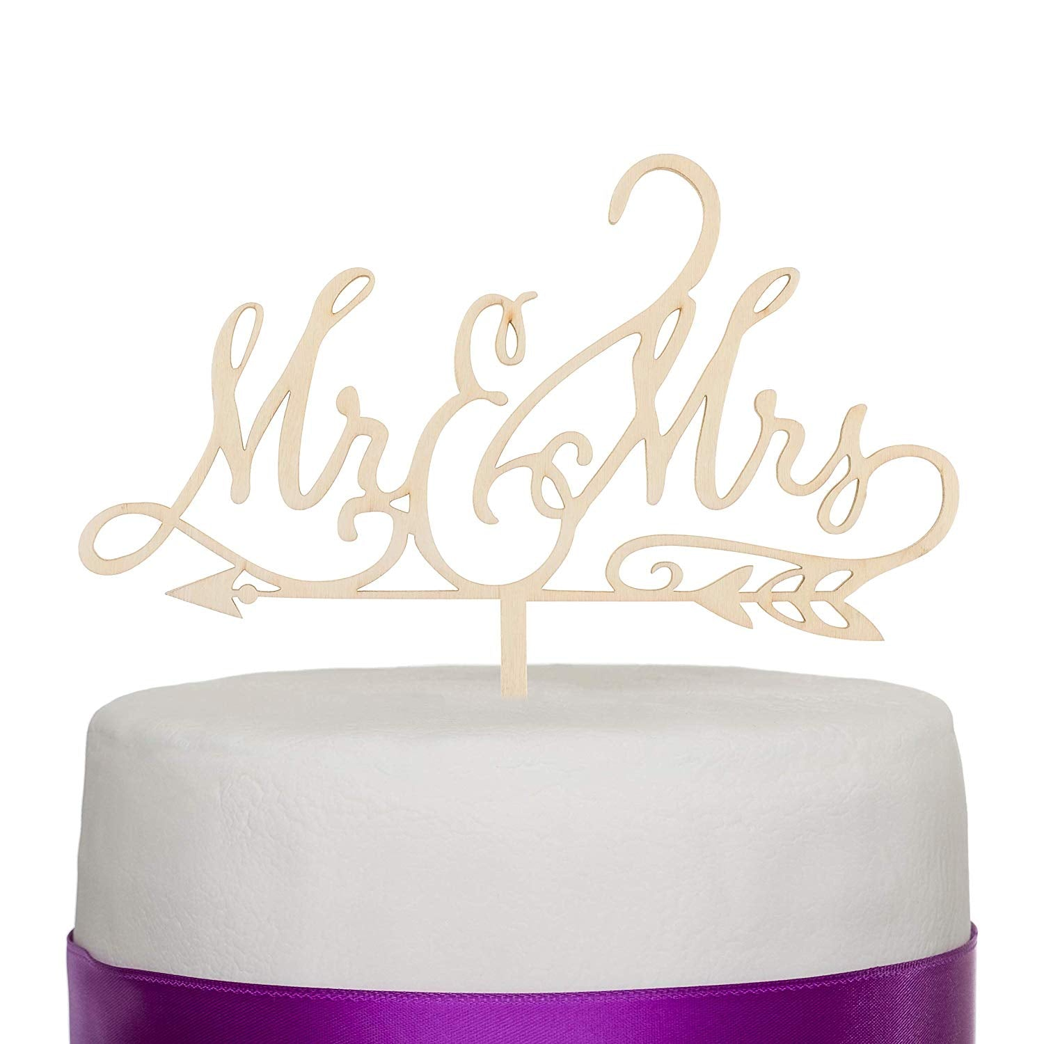 Mr & Mrs Arrow Wooden Wedding Cake Topper