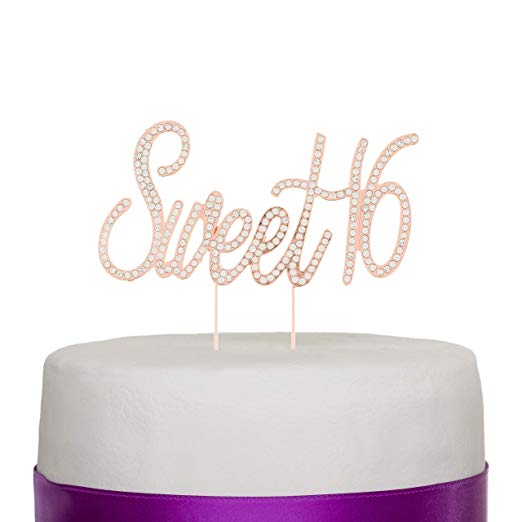 Sweet 16 Cake Topper - Rose Gold Words