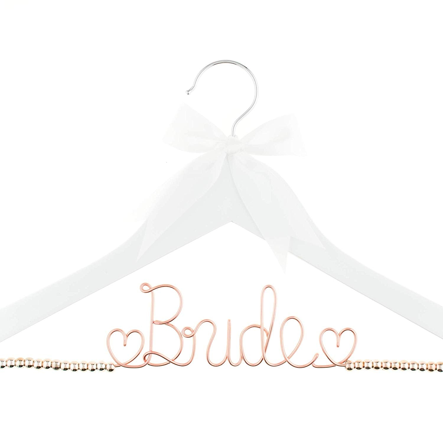 Bride Wedding Dress Hanger - White with Rose Gold Beads