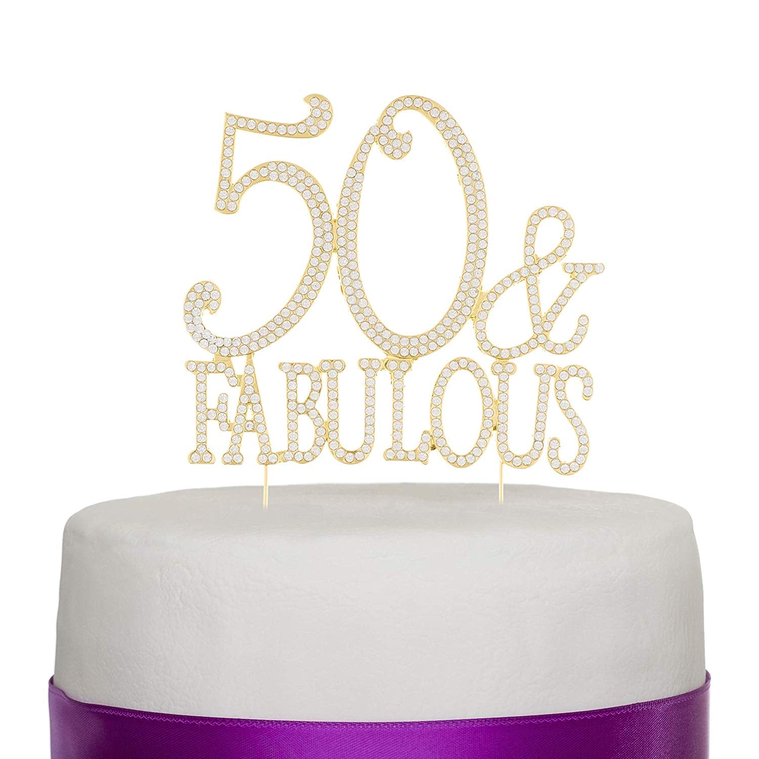 50 & Fabulous Cake Topper - Gold