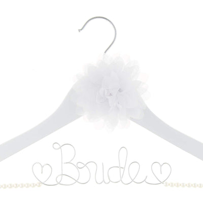 Bride Wedding Dress Hanger - White with Pearl Strand and Flower