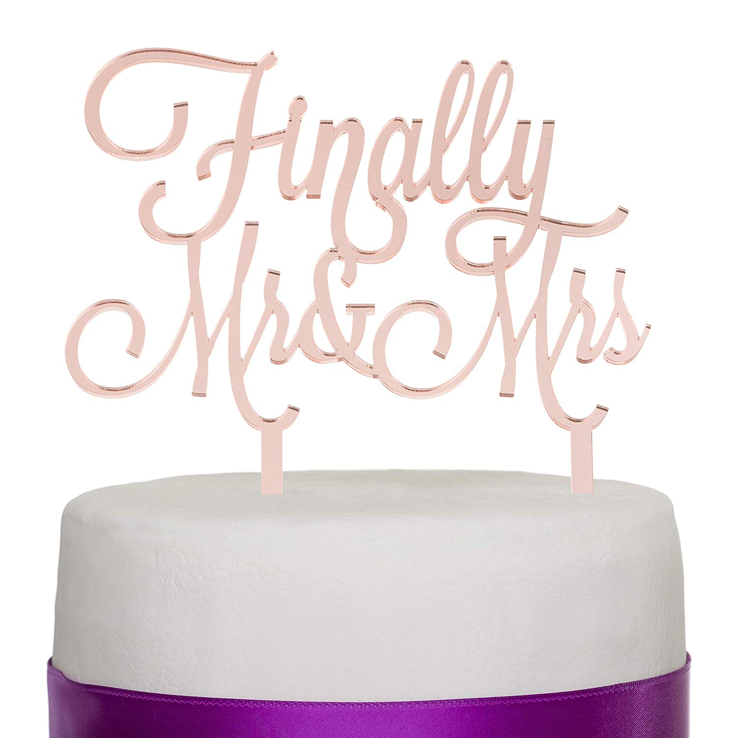 Finally Mr & Mrs Acrylic Cake Toper - Rose Gold